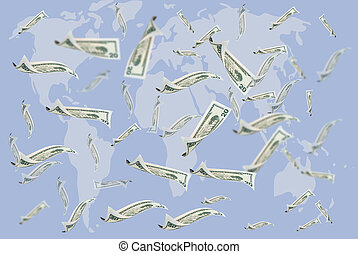 20 flying dollar bills and blurry world map, isolated on...