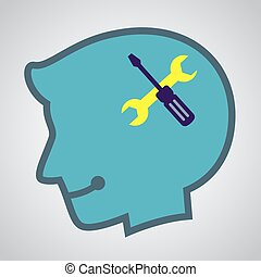 Silhouette of Human Head With Tools Icon