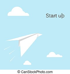 Paper rocket icon with white cloud on sky backgroundStart up...