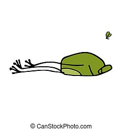 Funny frog sleeping, sketch for your design Vector...