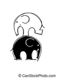 Cute elephants sketch for your design. Vector illustration