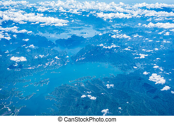 Arial view of beautiful sea and mountain in Phuket Thailand