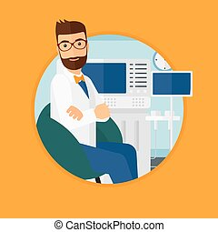 Male ultrasound doctor - Hipster male ultrasound doctor...