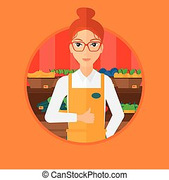 Friendly supermarket worker - Female supermarket worker...