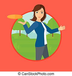 Woman playing flying disc - A sportive woman playing flying...