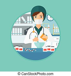 Pharmacist preparing medication. - Pharmacist using mortar...