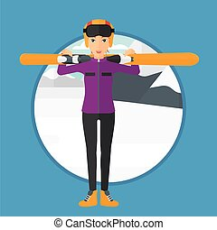 Woman holding skis - Woman carrying skis on her shoulders on...