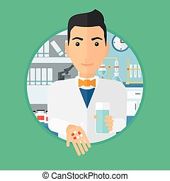 Pharmacist giving pills and glass of water - Pharmacist...