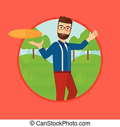 Man playing flying disc. - A hipster man with the beard...