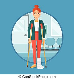 Woman with broken leg and crutches. - An injured woman with...