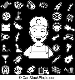 Mechanic and auto part - White car parts graphic on a black...