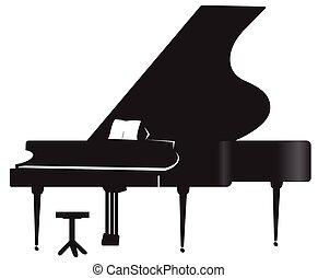 鋼琴, 黑色半面畫像, 盛大