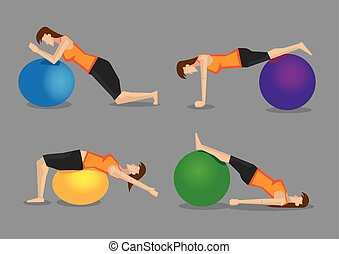 Fitness Program with Exercise Ball Vector Illustration - Set...