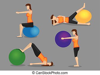 Workout Routine with Exercise Ball for Women - Set of four...