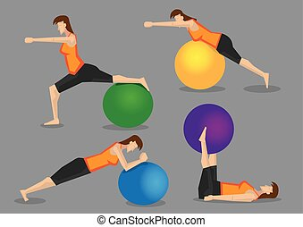 Woman Fitness Exercise Workout with Gym Ball - Slim sporty...