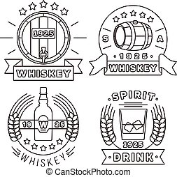 Whisky logo set thin line style. Vector alcohol drinks...