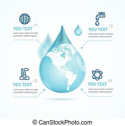 Water Globe Infographic Eco. Vector