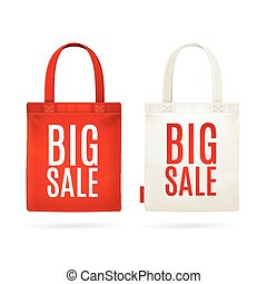 Sale Eco Bag Set Vector - Sale Eco Fabric Cloth Bag Set...