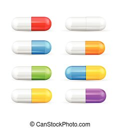 Different Colours Pills Capsules Set Vector - Different...