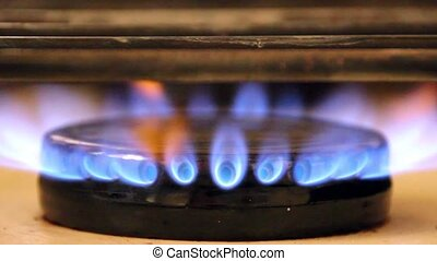 Stove fire flame video - Video footage of some stove blue...