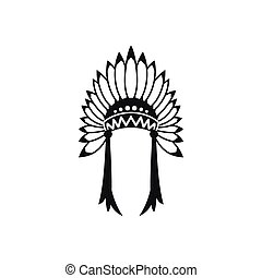 Indian headdress icon, simple style - Indian headdress icon...