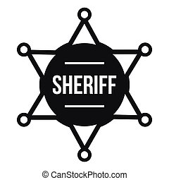 Sheriff badge icon, simple style - Sheriff badge icon in...