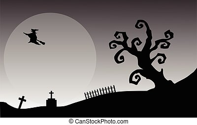 Witch flying halloween backgrounds