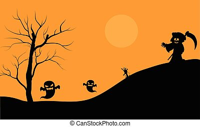 Halloween warlock and ghost scary silhouette vector...