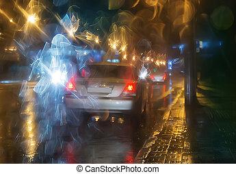 都市, 雨, 夜, 行く, 自動車