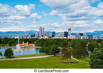 Denver downtown - Denver Colorado downtown with City Park