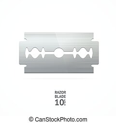 Razor Blade. Vector - Realistic Steel Razor Blade Isolated...