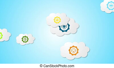 Abstract social communication video animation with clouds -...