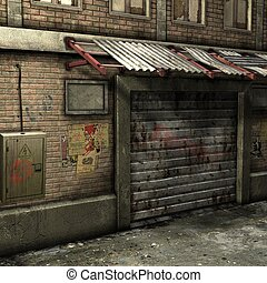 Dead End Alley Scene - 3D Render of an Dead End Alley Scene