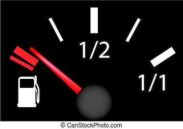 car dash board petrol meter, fuel gauge in empty gas tank...