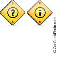 Question and Information Mark Button Label on yellow sign