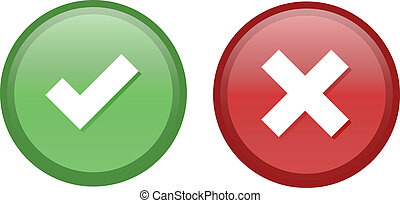 Tick and Cross buttons in green and red colors