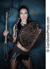 Aggressive medieval woman. - Medieval woman savage cries,...