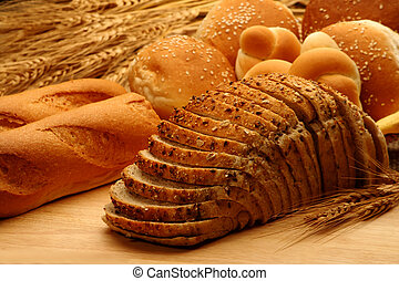 Bread and baked foods - Assortment of whole wheat baked...