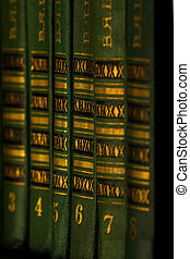 The green and gold book on the shelf