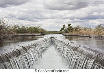 Floodgate area at huge irrigation canal, Extremadura, Spain...