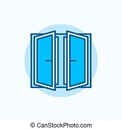 Wide open window vector icon Flat blue concept window symbol...