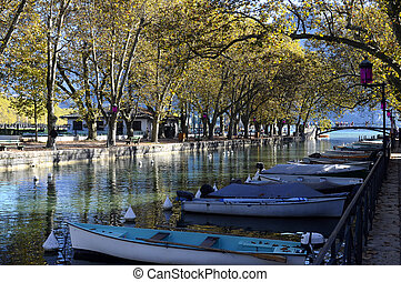 Bridge of loves in Annecy city, France - Overview of Bridge...