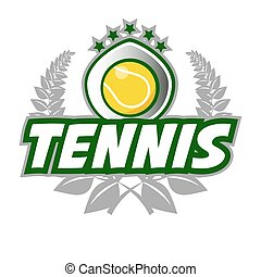 Tennis Badge Logo Template with ball and laurel wreath....