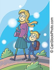 Mother leads her son in school.