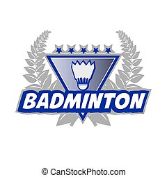 Badminton Tournament logo with flounce and laurel wreath.