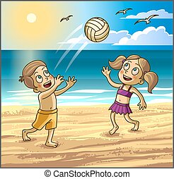Childrens summer activities Happy kids boy and girl are...