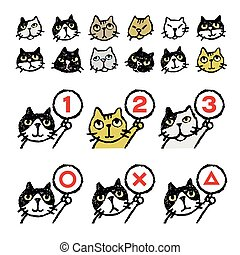 Various cats, face, ranking - Various kinds of cats, face,...
