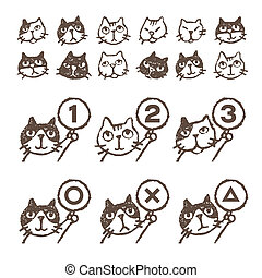 Various cats, face, ranking, illustration - Various kinds of...