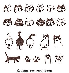 Various cats, face, paw, footprint - Various kinds of cats,...