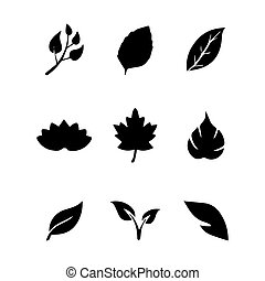 vector of set leaves icon
